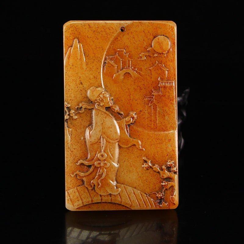 Vintage Chinese Hetian Jade Pendant - Poet