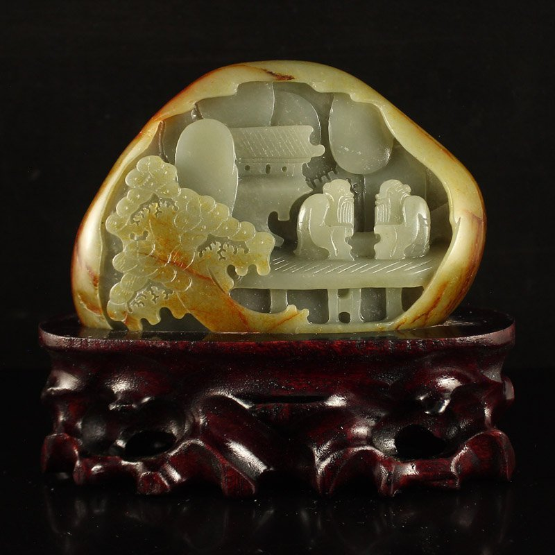 Chinese Natural Hetian Jade Statue - Two Sages