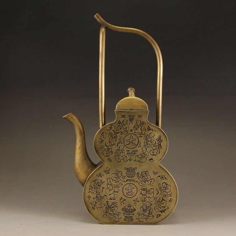 Vintage Chinese Brass Handle Teapot