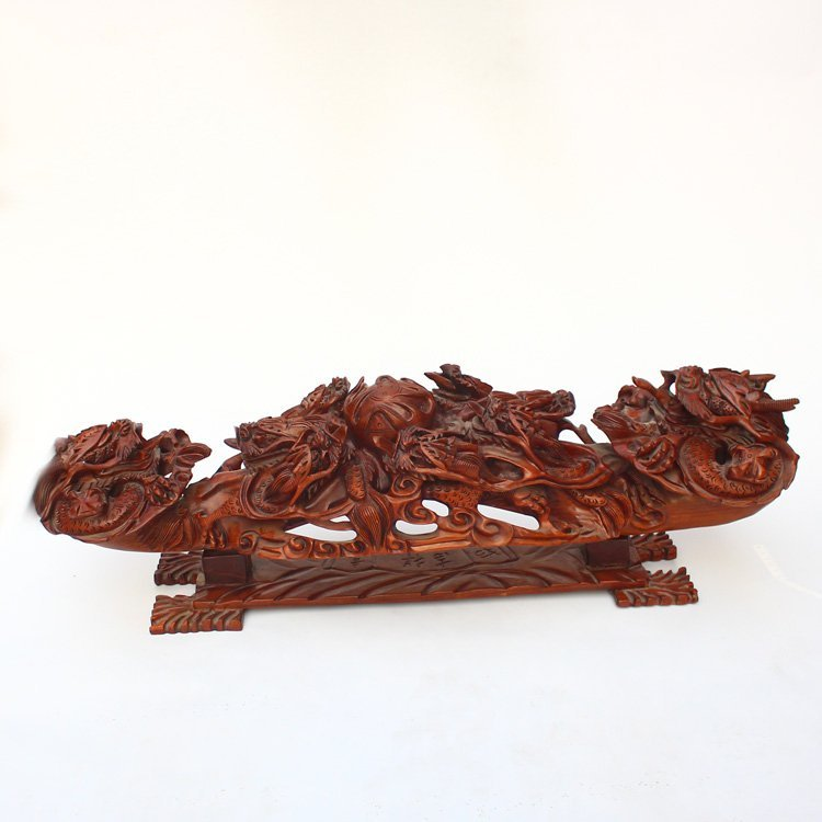 Chinese Huali Wood Dragons & Fire Ball Ruyi Statue