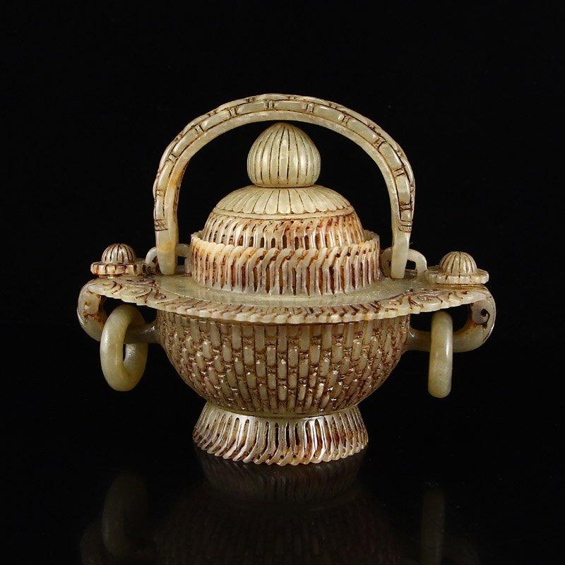 Vintage Chinese Hetian Jade Double Rings Basket Statue