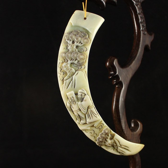 Vintage Chinese Bone Pendant w Sages & Pine Tree