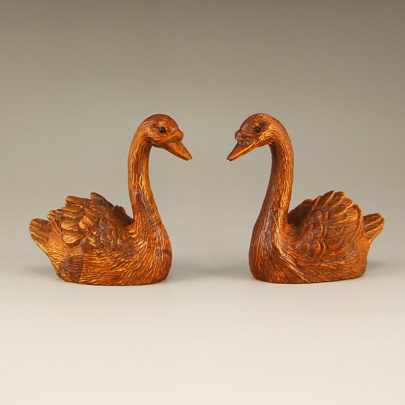 A Pair Chinese Boxwood Wood Swans Statue