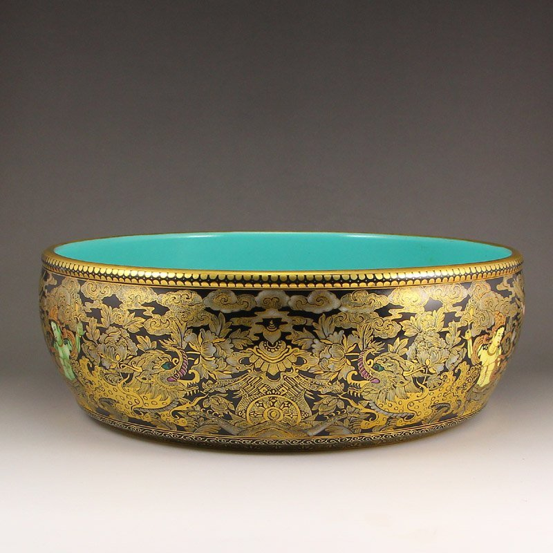 Chinese Gilt Gold Black Glaze Porcelain Brush Washer