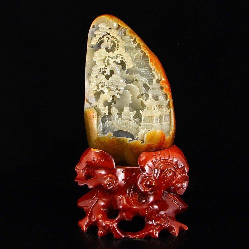 Chinese Natural Hetian Jade Statue - Poet & Pine Tree