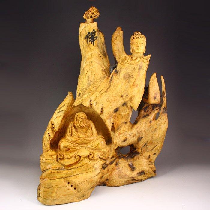 Chinese Thuja Sutchuenensis Wood Statue