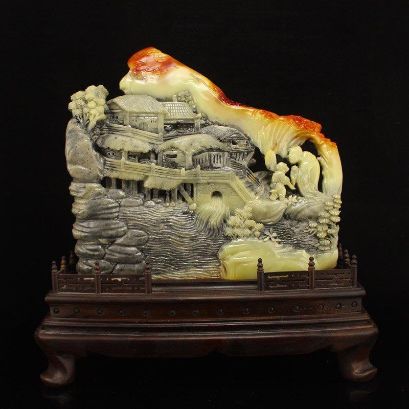 Superb Chinese Shoushan Stone Statue - Old Man & Kid