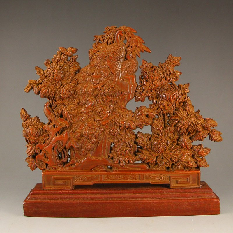 Vintage Chinese Boxwood Wood Statue