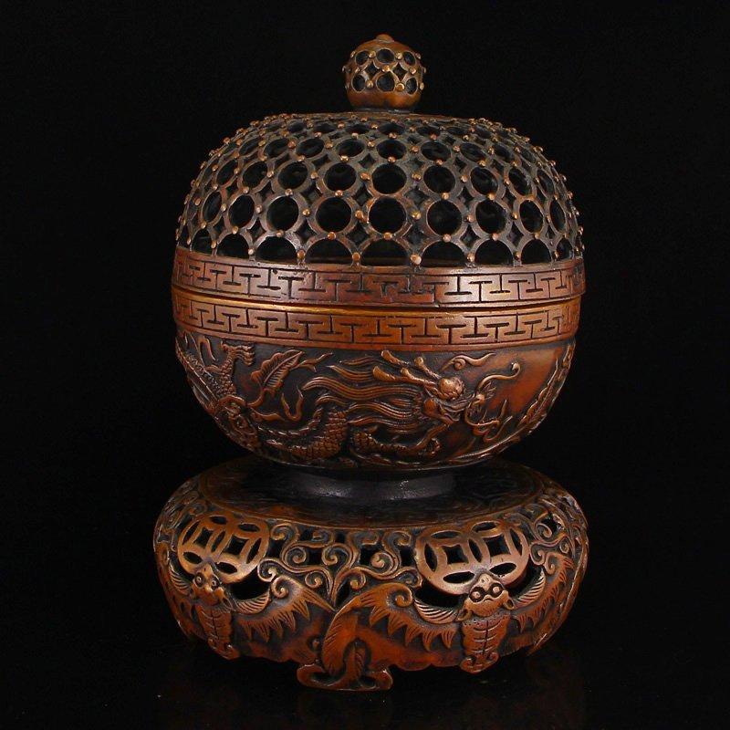 Openwork Vintage Chinese Red Copper Incense Burner