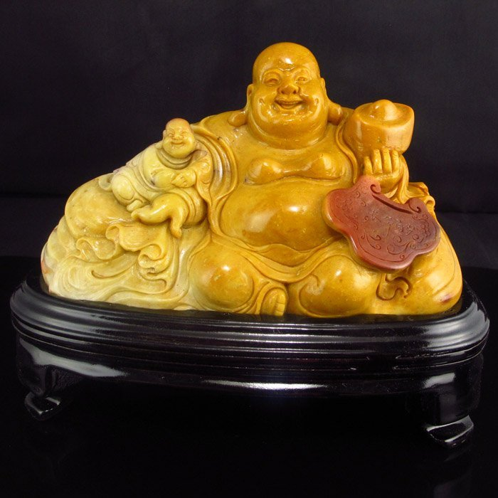 Chinese Shoushan Stone Statue - Laughing Buddha