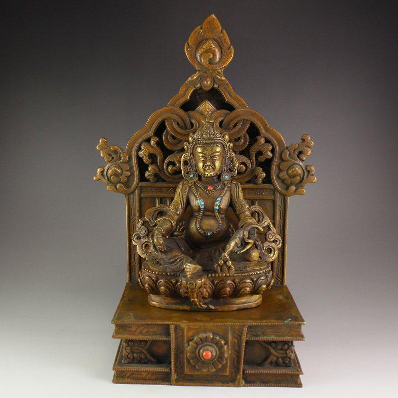 Brass Inlay Turquoise Yellow Jambhala Buddha Statue