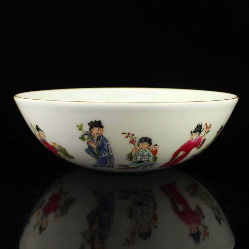 Chinese Qing Dy Gilt Edges Famille Rose Porcelain Bowl