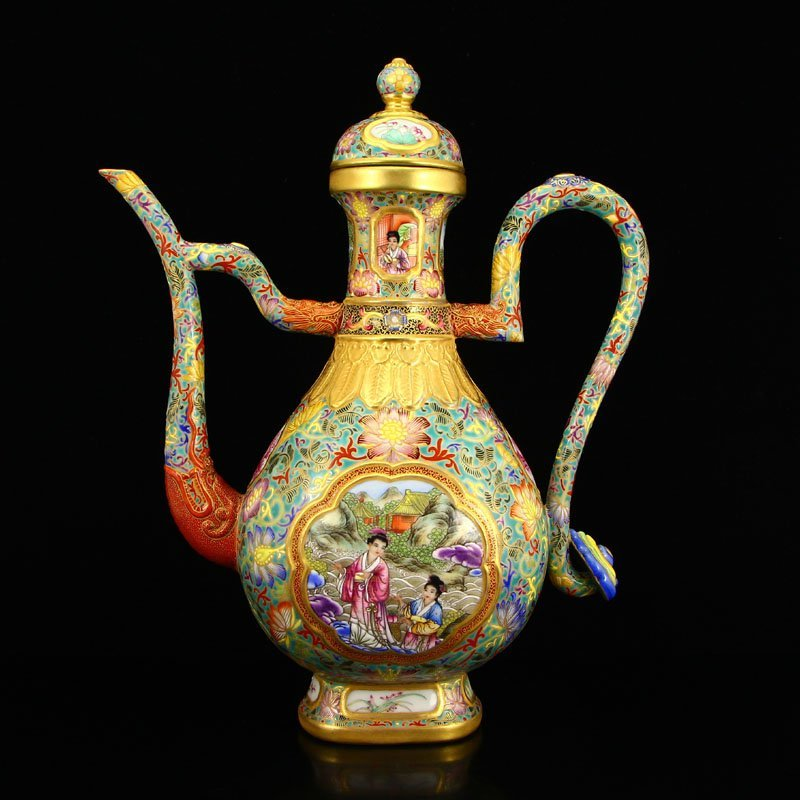 Chinese  Gilt Gold Blue And White Porcelain Spray Pot