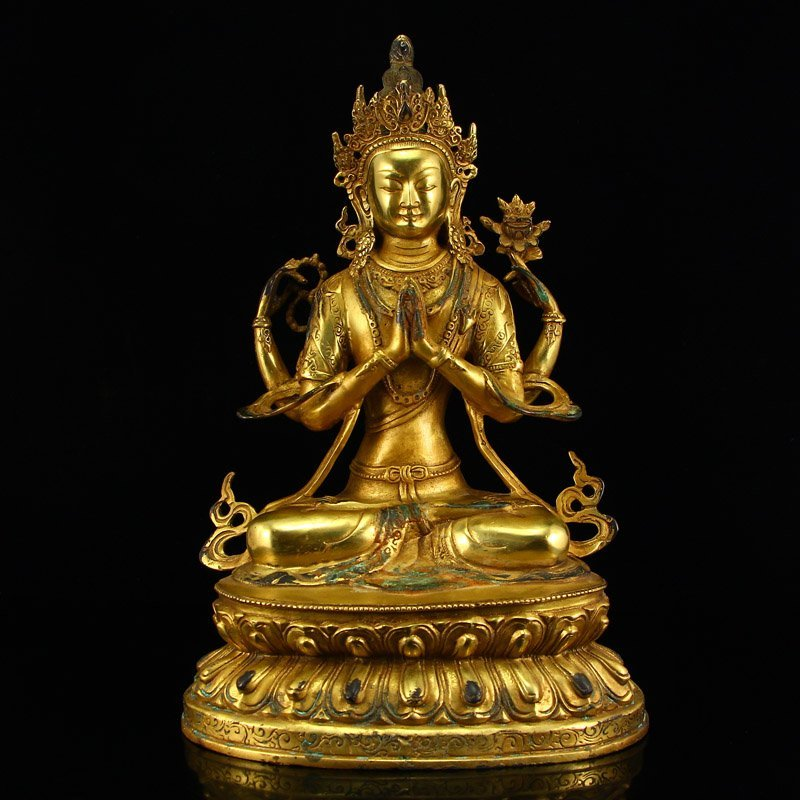 Tibetan Buddhism Gilt Gold Bronze Kwan-yin Statue