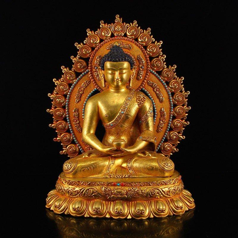 Tibetan Gilt Gold Bronze Siddhartha Buddha Statue