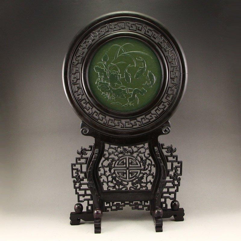 Chinese Zitan Wood Inlay Green Hetian Jade Screen