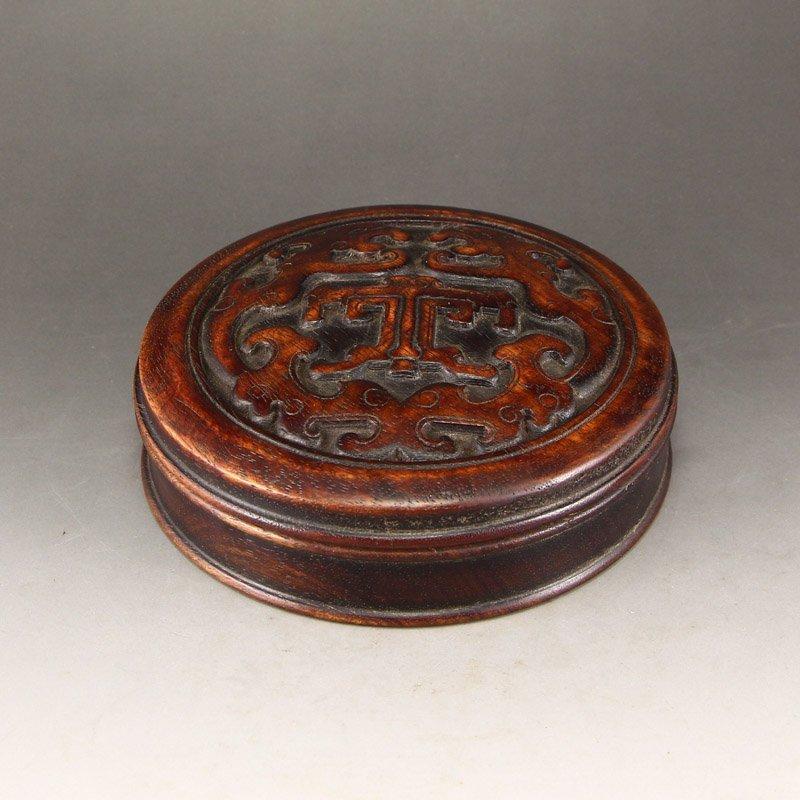 Vintage Chinese Zitan Wood Ink Box
