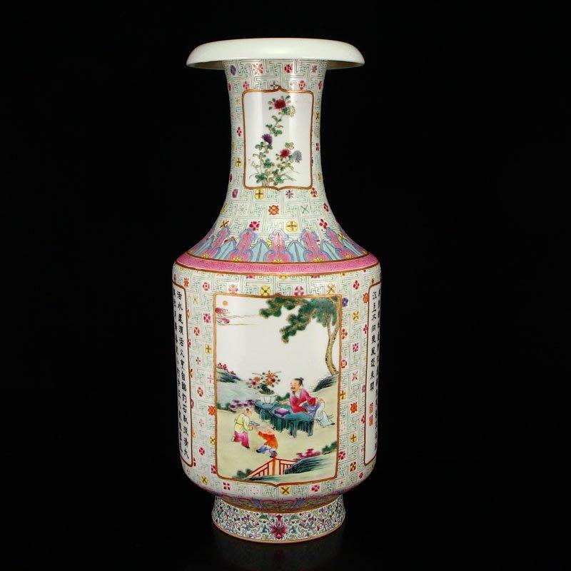 Chinese Qing Dynasty Famille Rose Porcelain Vase