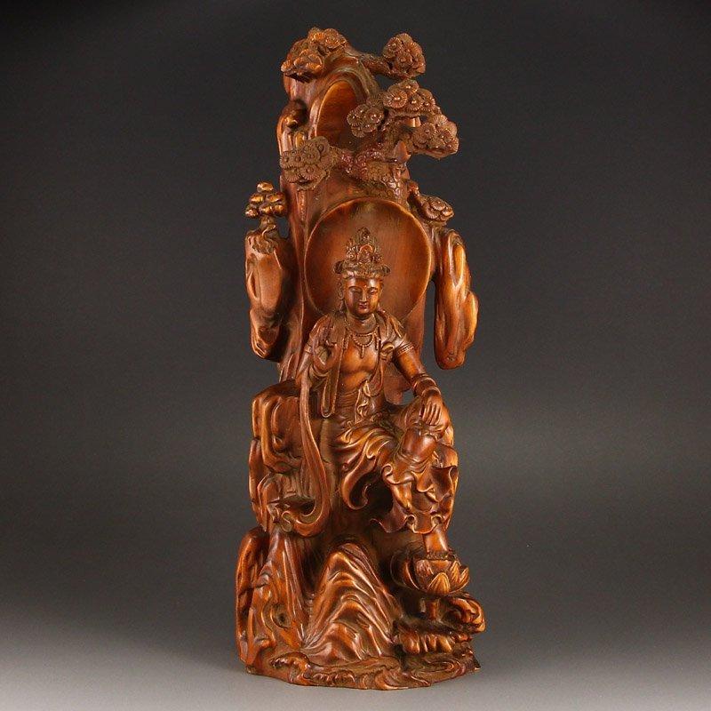 Vintage Chinese Boxwood Wood Kwan-yin Statue