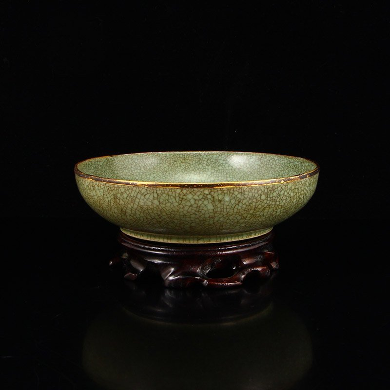 Chinese Gilt Edge Ru Kiln Poetic Prose Porcelain Disk