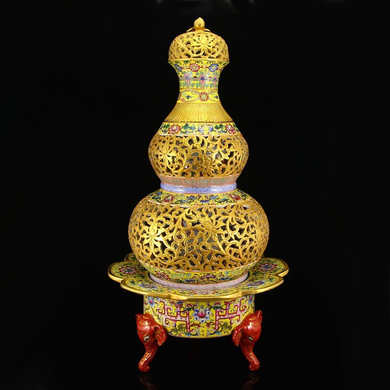 China Gilt Gold Iron Red Glaze Porcelain Brush Washer