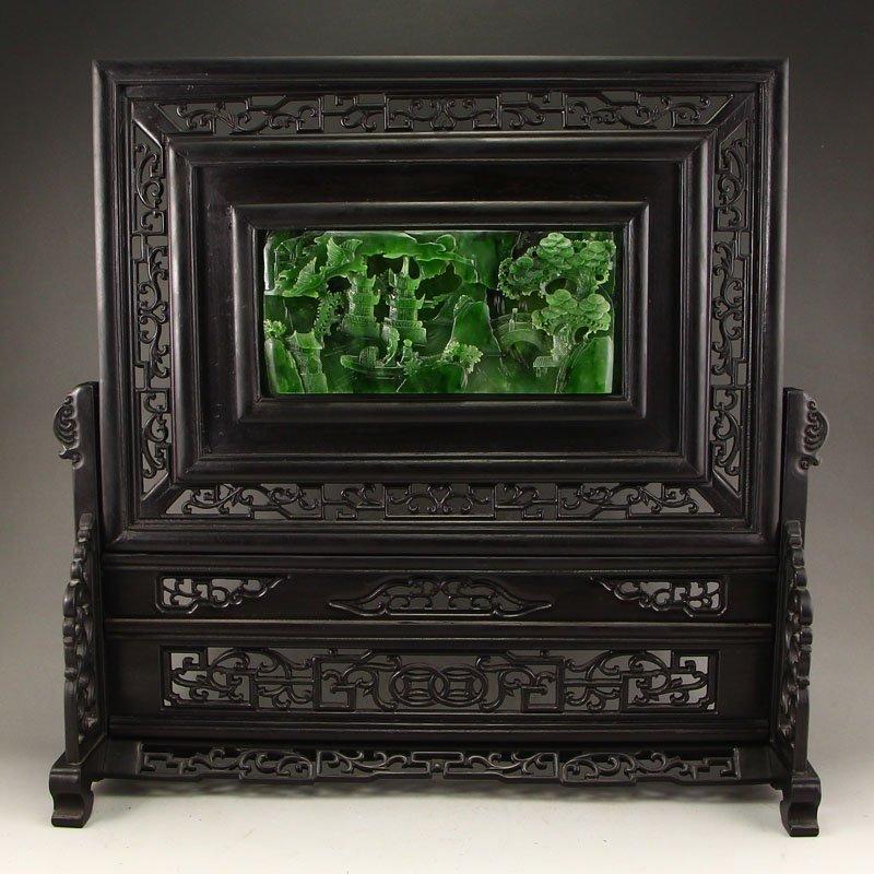 China Zitan Wood Inlay Green Hetian Jade Screen