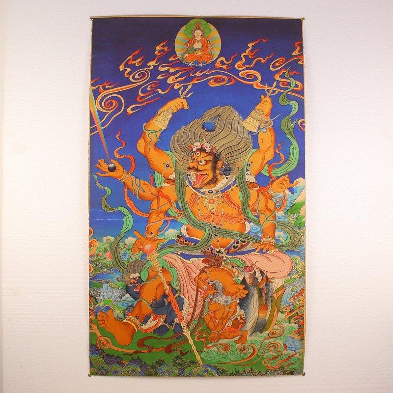 Hand Painted Tibetan Buddhism Kraft Thangka - Mahakala