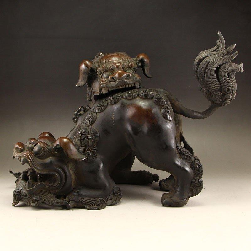 Vintage Chinese Bronze Double Lions Incense Burner