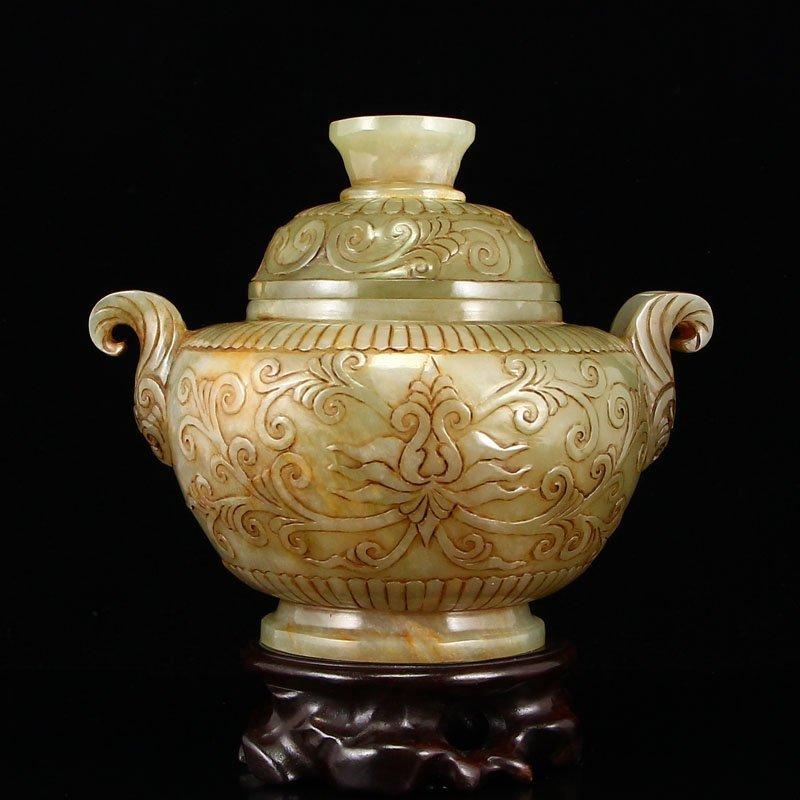 Vintage Chinese Hetian Jade Low Relief Incense Burner