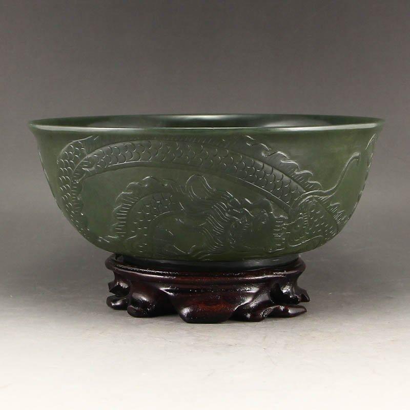 Diameter 180mm Chinese Qing Dy Green Hetian Jade Bowl