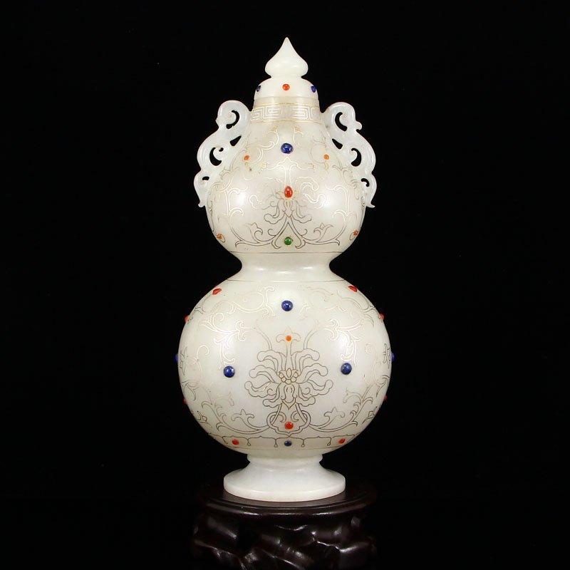 Superb China Hetian Jade Inlay Silver Wire & Gems Vase