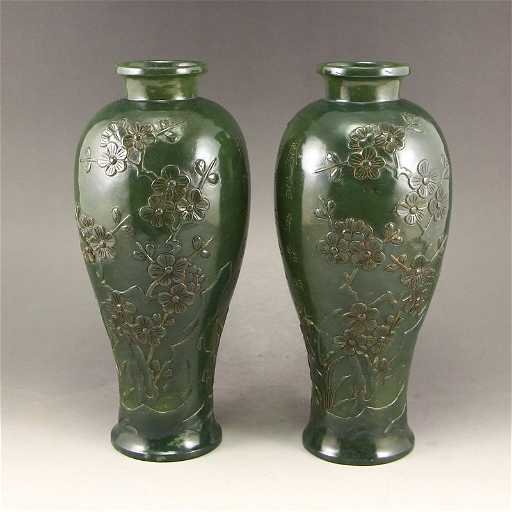 A Pair Chinese Qing Dy Green Hetian Jade Vases