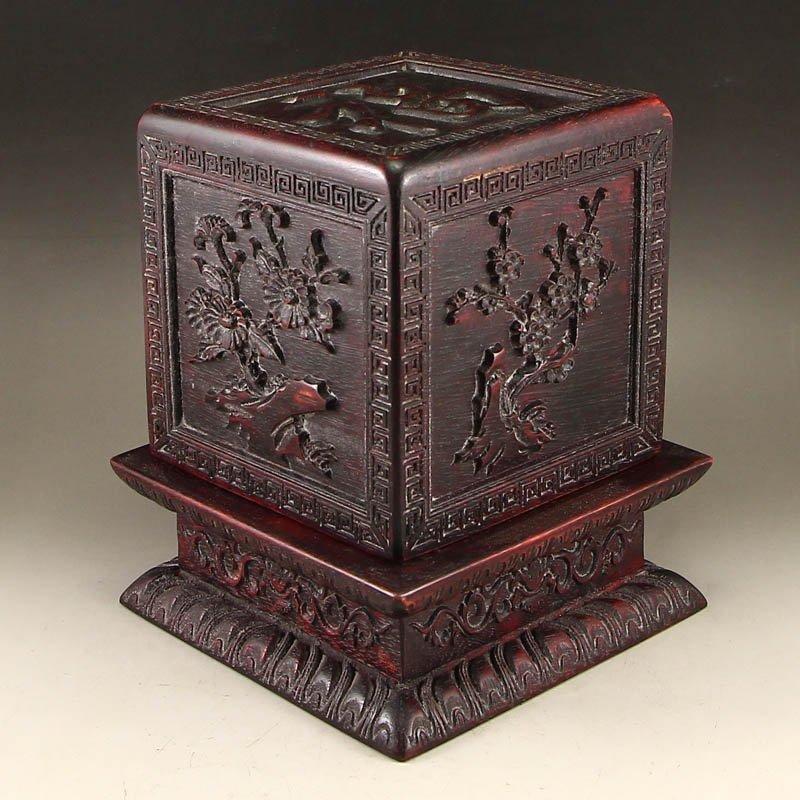 Vintage Chinese Zitan Wood Seal Box
