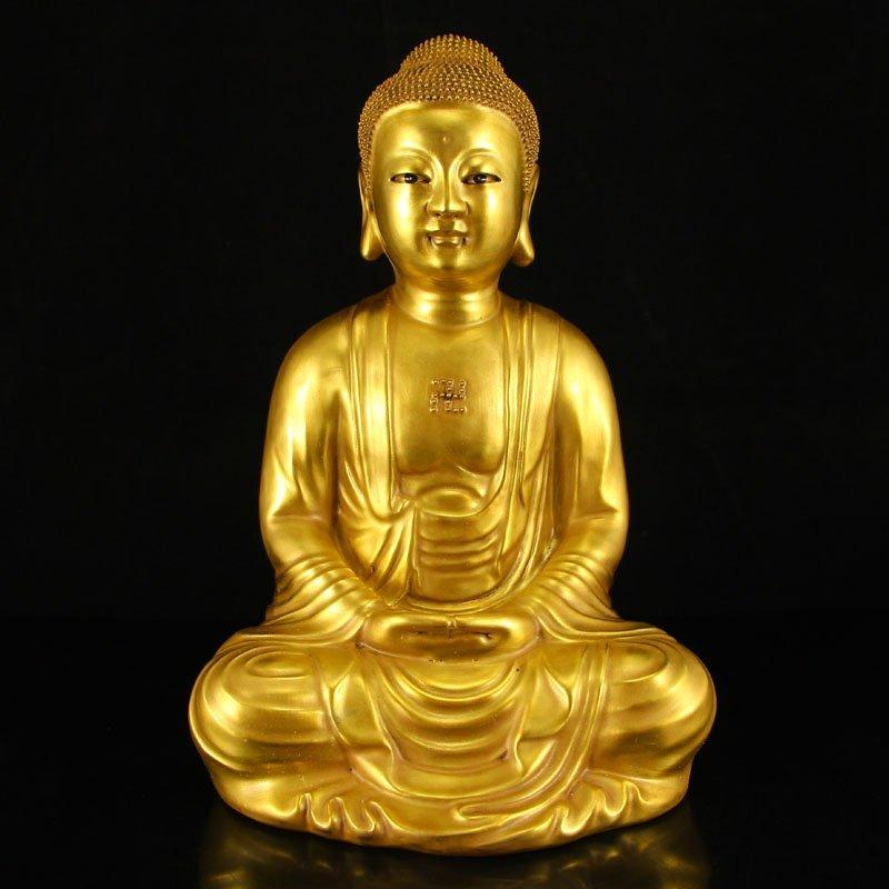 Chinese Gilt Gold Porcelain Siddhartha Buddha Statue