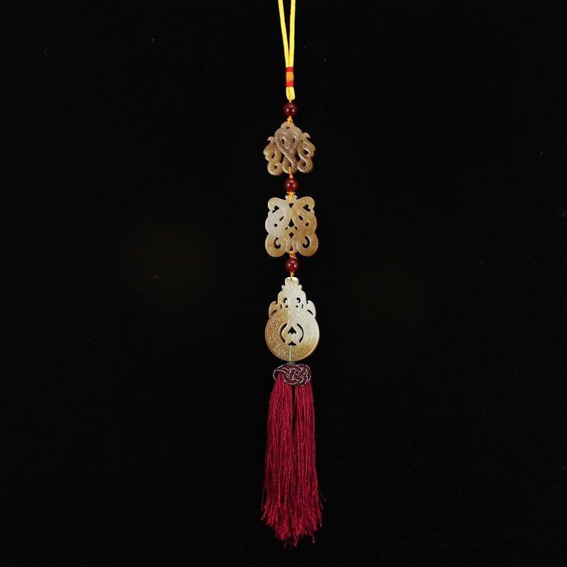 Vintage Chinese Hetian Jade Dragons Phoenixes Pendant