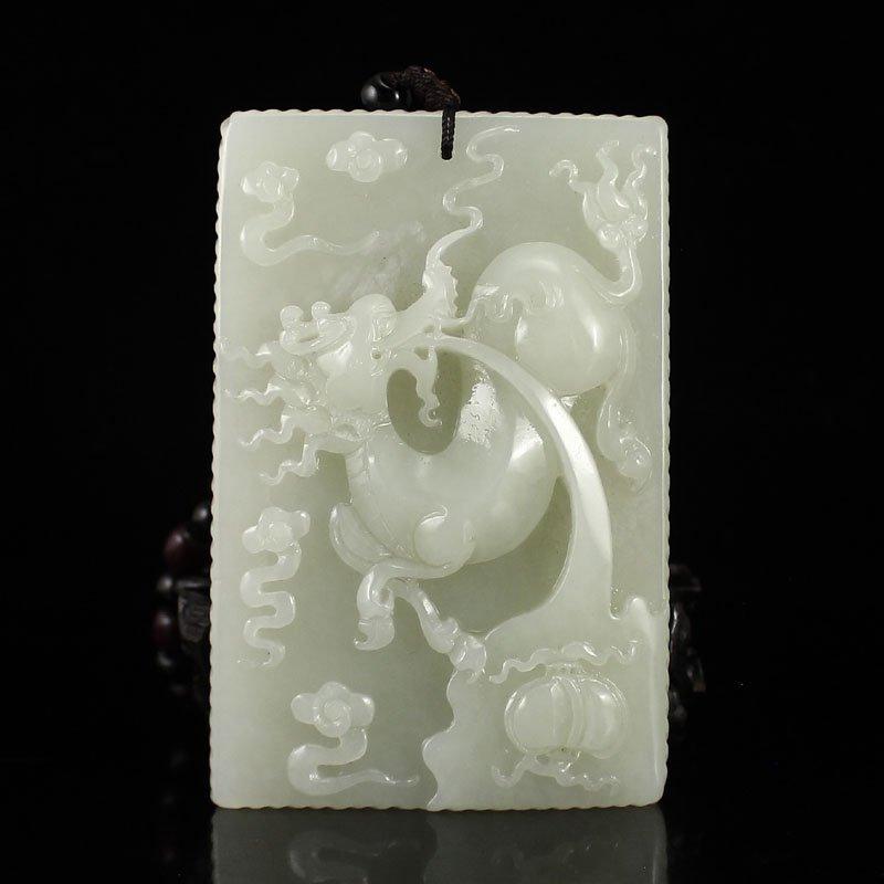 Hetian Jade High Relief Big Pendant - Fortune Kylin