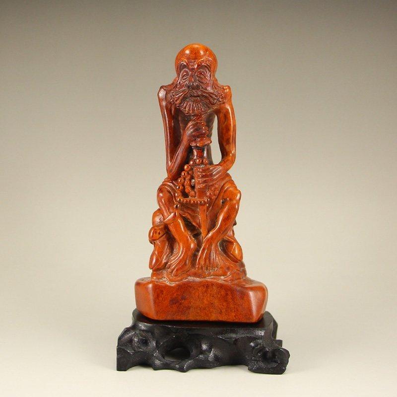 Vintage Chinese Deer Bone Arhat Statue