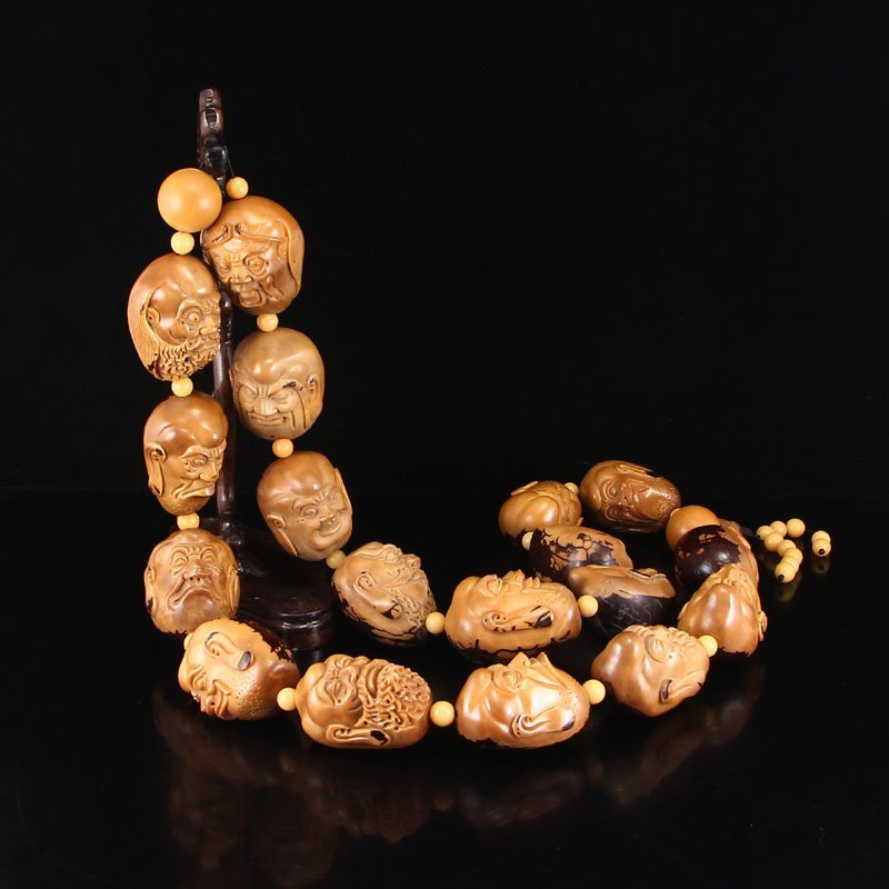Hand Carved Olive Nut Necklace - Eighteen Arhat