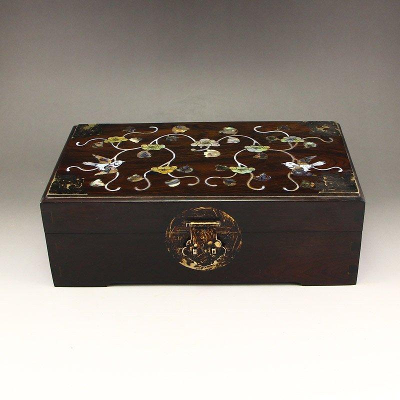 Chinese Zitan Wood Inlay Shells Jewelry Box