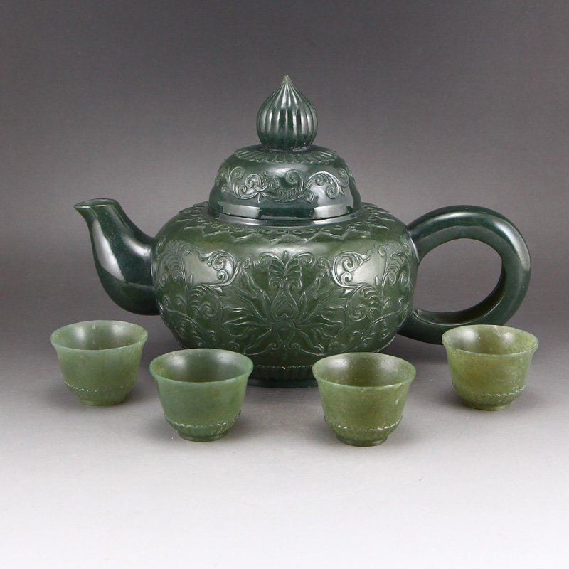A Set China Green Hetian Jade Low Relief Teapot & Cups