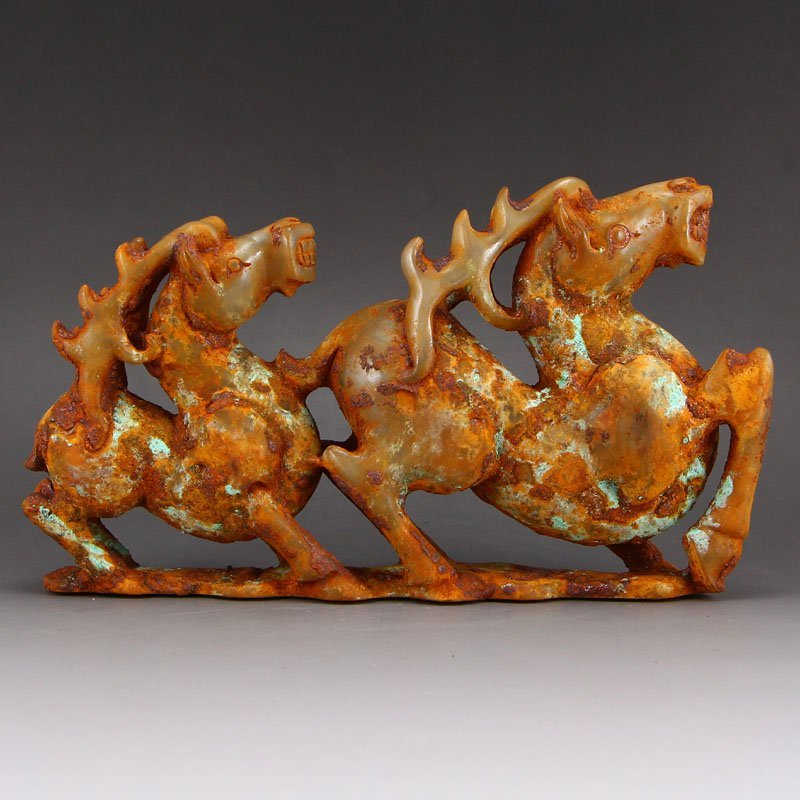 Vintage Chinese Hetian Jade Fortune Horses Statue