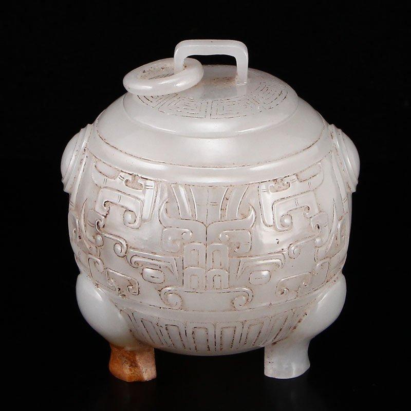 Vintage Chinese Han Dy Hetian Jade 3 Legs Tea Caddy
