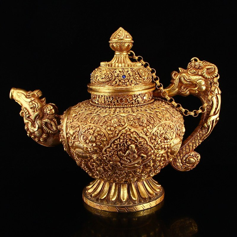 Tibetan Silver Gilt Gold Low Relief Big Teapot