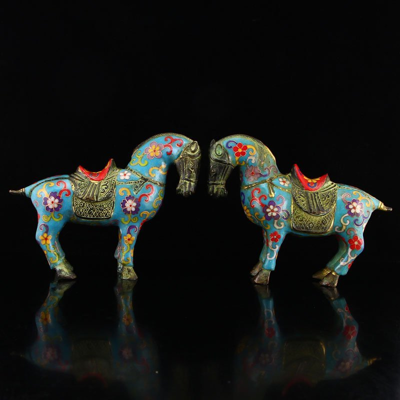 Chinese Qing Dy Bronze Cloisonne Horses Statue