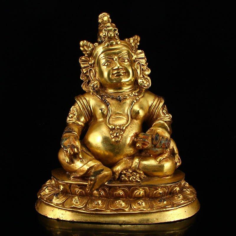 Tibet Buddhism Gilt Gold Bronze Yellow Jambhala Statue
