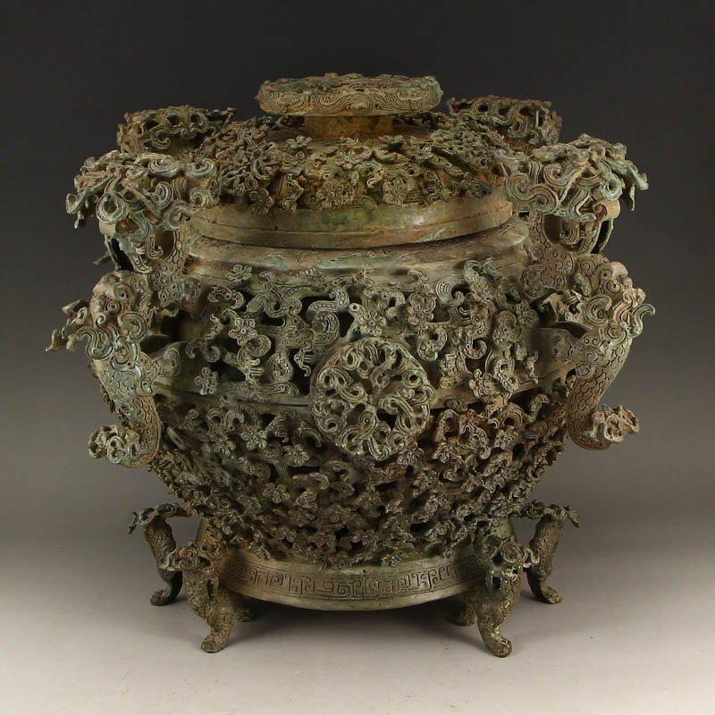 Vintage Chinese Bronze 3 Legs Incense Burner & Lid