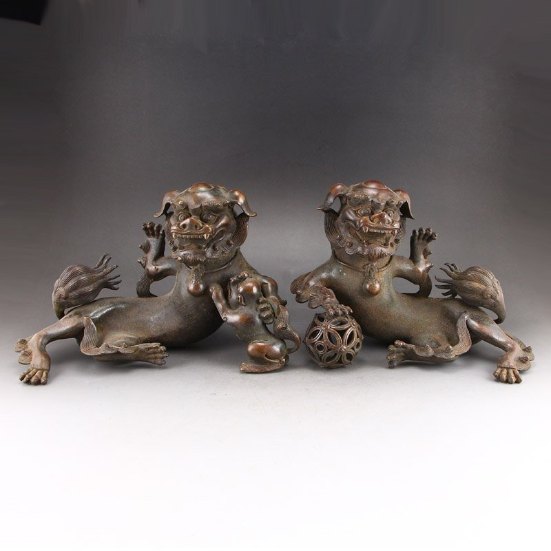 A Pair Vintage Chinese Red Copper Lions Statue