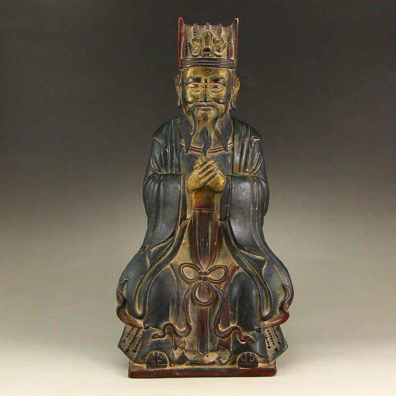 Chinese Gilt Glod Bronze Fortune Taoism Deity Statue