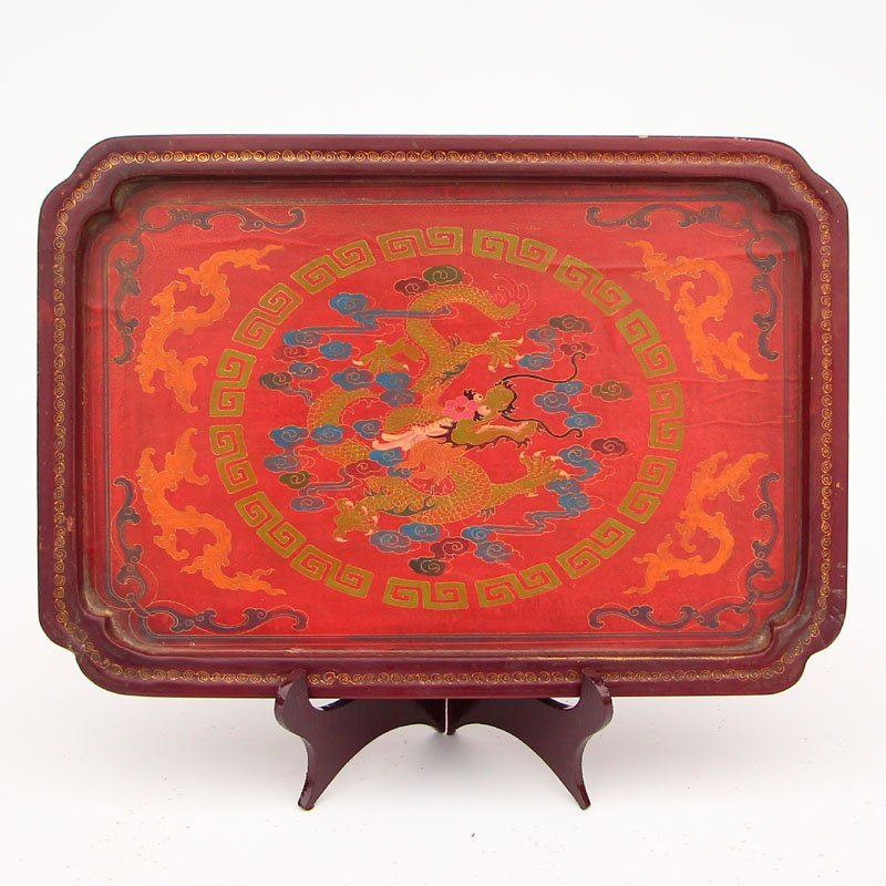 Vintage Chinese Hard Wood Lacquerware Tea Tray