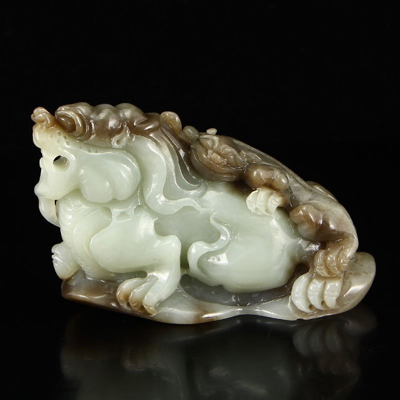 Chinese Natural Hetian Jade Statue - Fortune Beasts